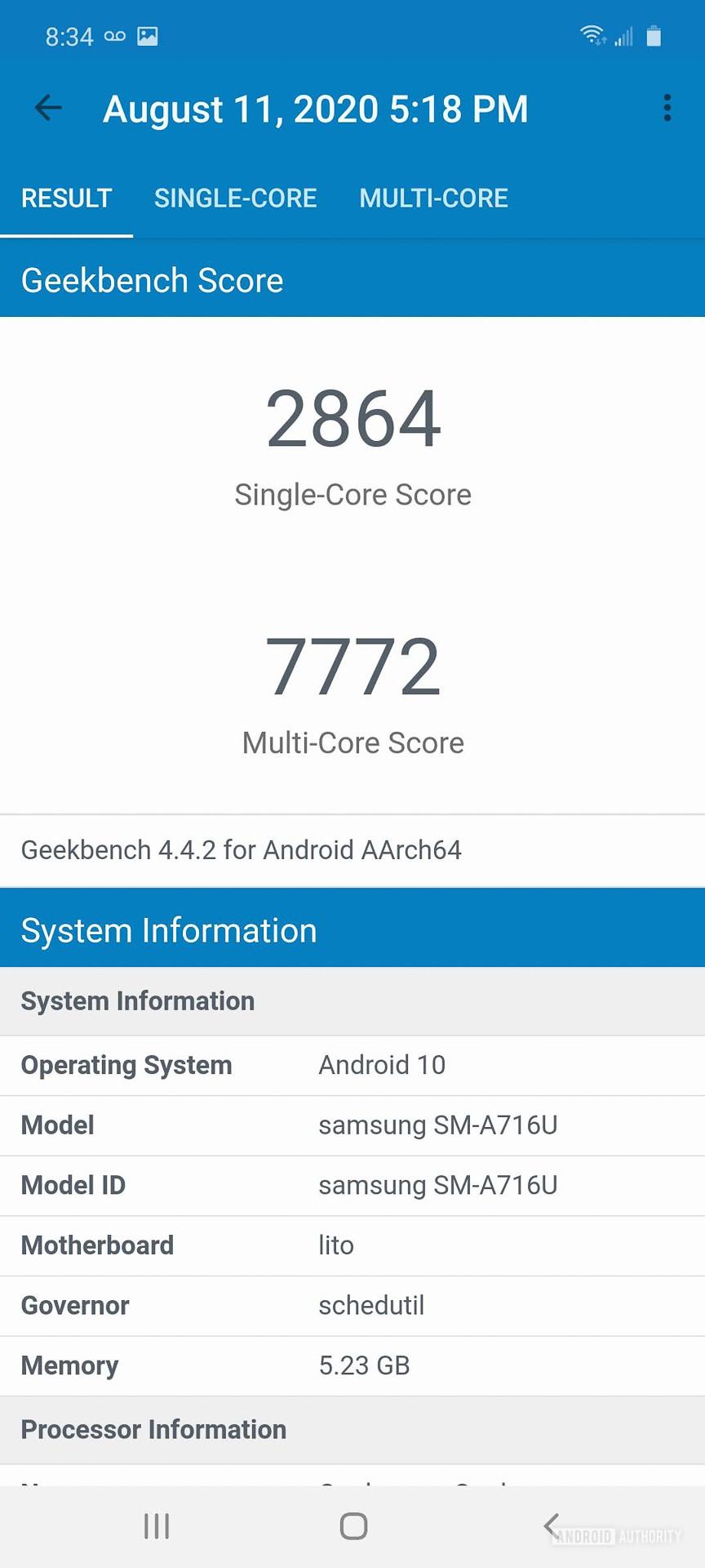 Samsung Galaxy A71 5G Geekbench