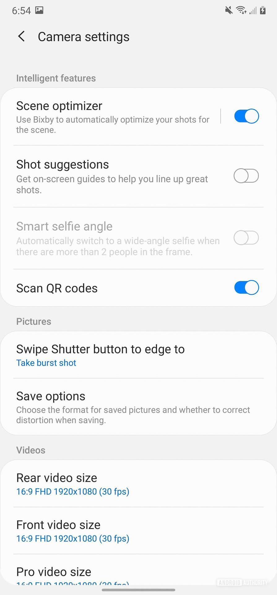 Samsung Galaxy Note 20 Ultra Camera settings
