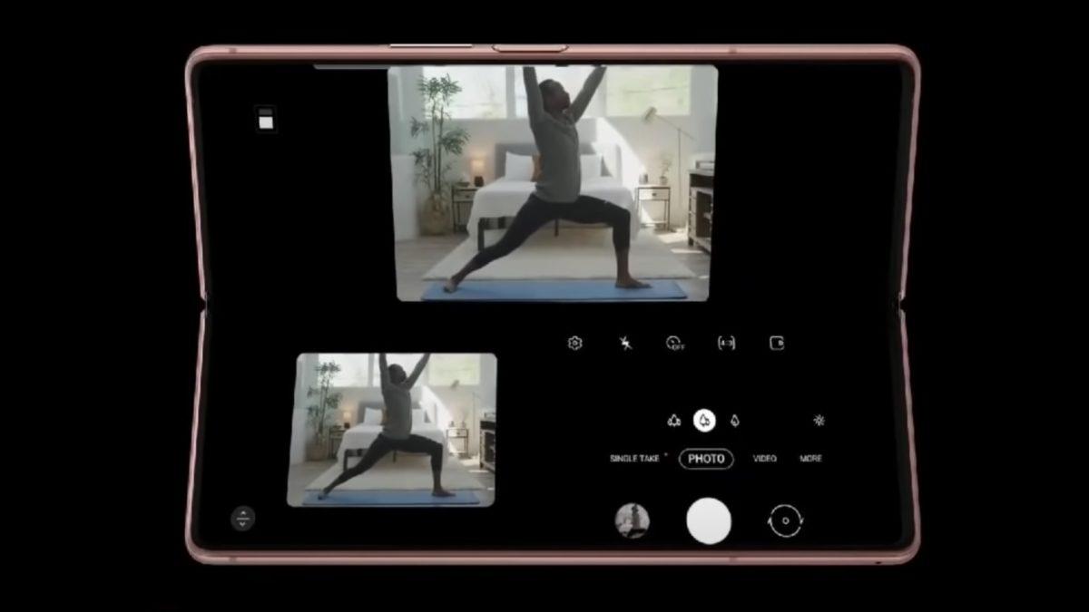 Samsung Galaxy Z Fold 2 leaked ad showing adaptive flex mode