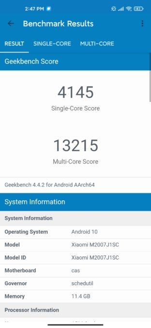 Xiaomi Mi 10 Ultra geekbench 4 results