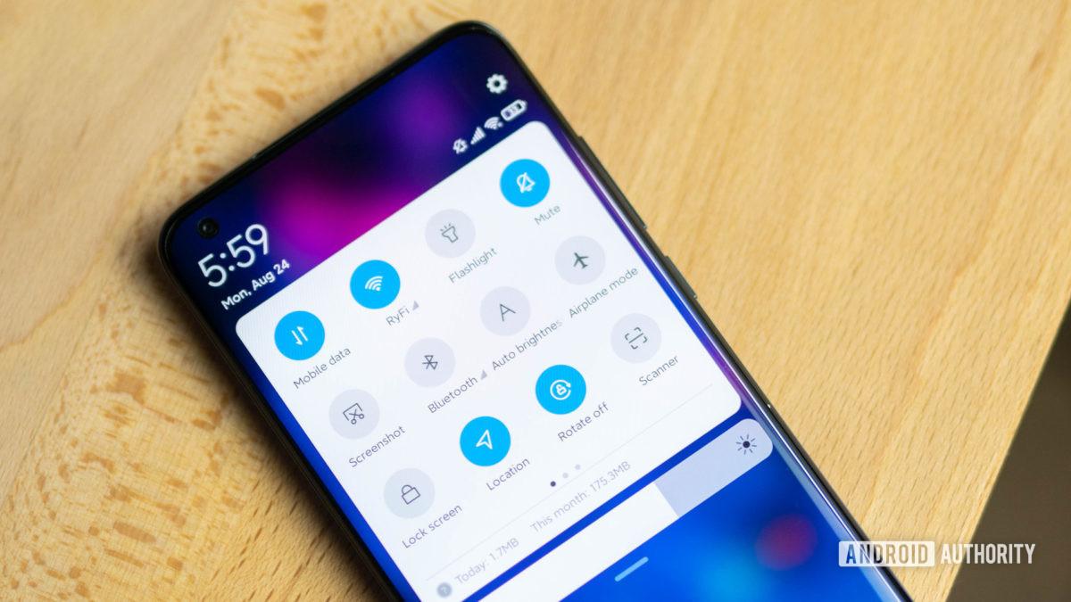 Xiaomi Mi 10 Ultra quick settings pulldown