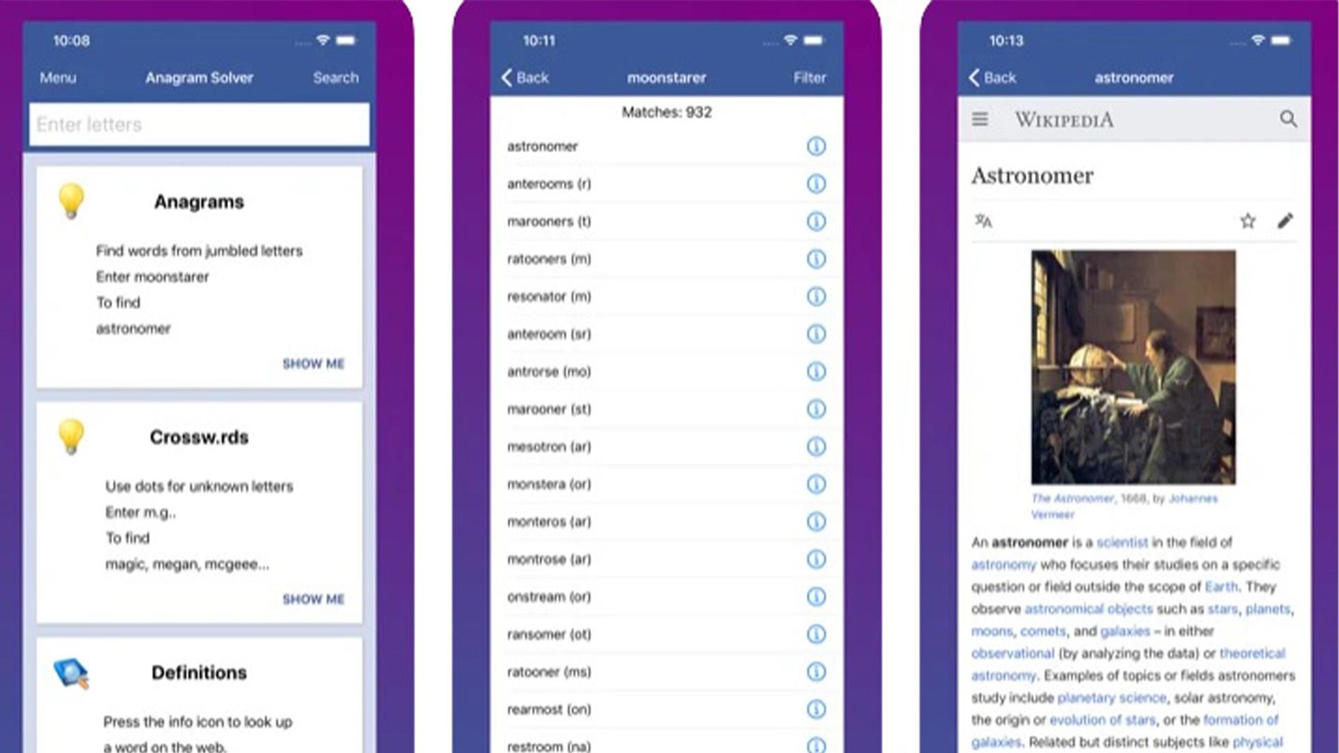 Anagram solver iOS screenshot 2020