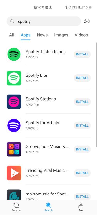 EMUI 11 app search