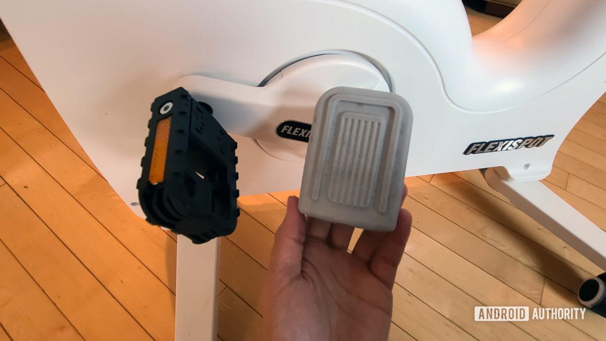 FlexiSpot Desk Bike Review Pedal Cover Removed