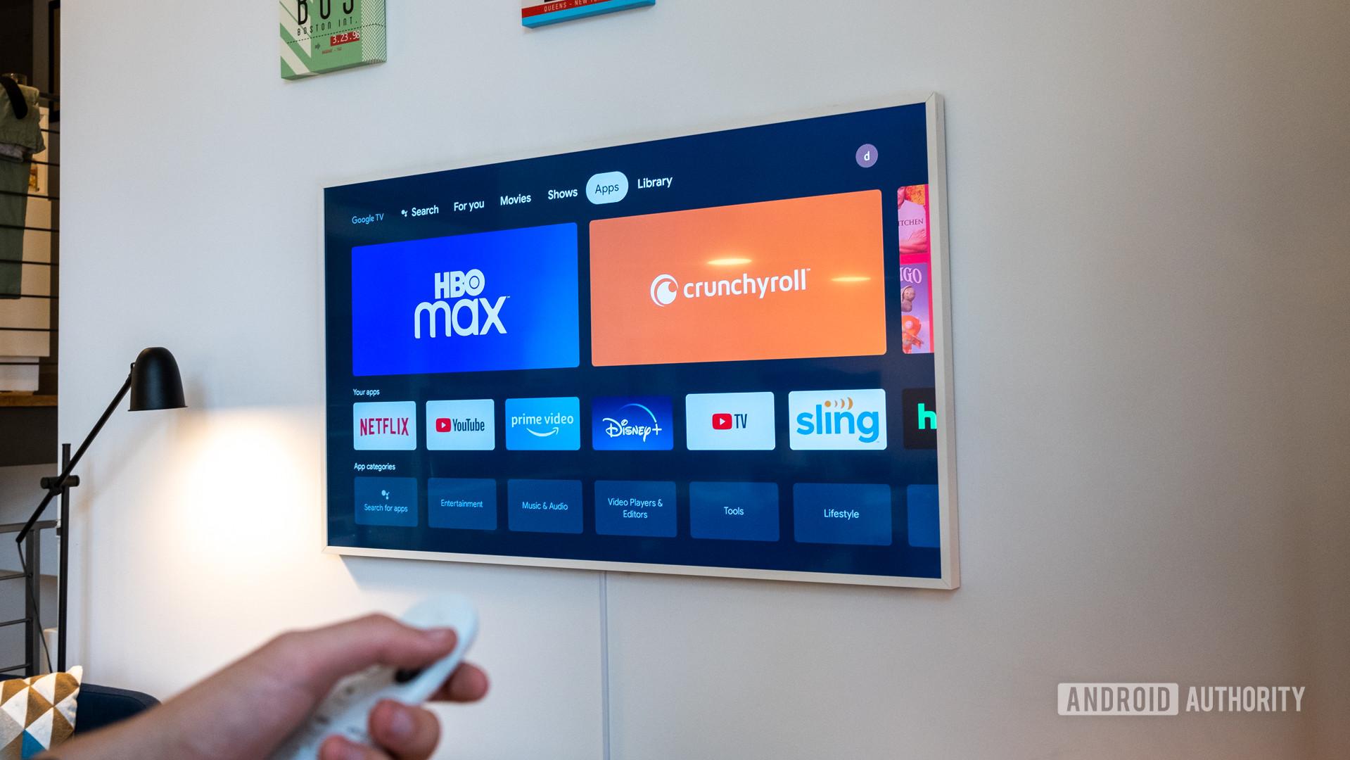 Google Chromecast with Google TV apps tab