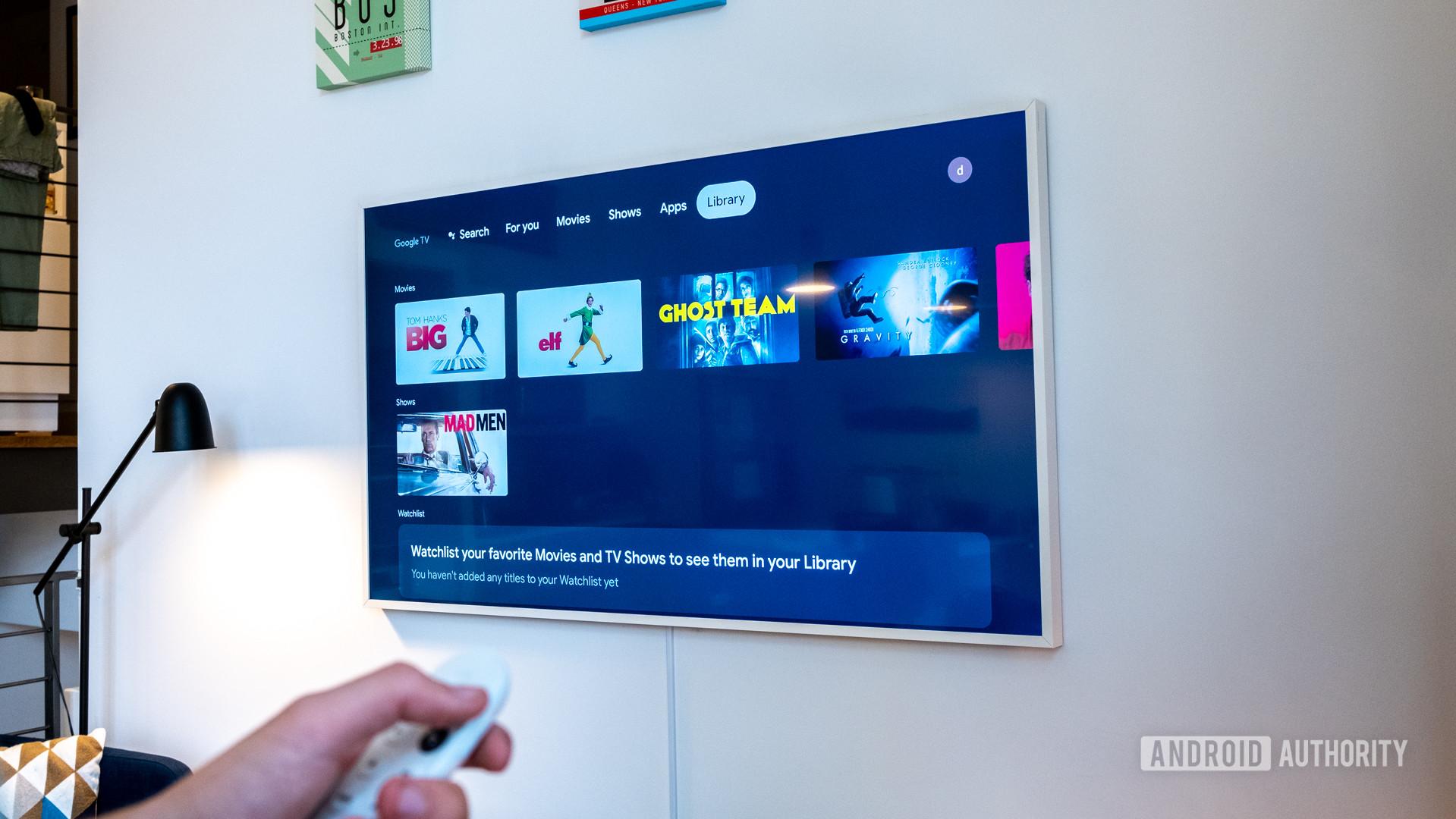 Google Chromecast with Google TV library tab