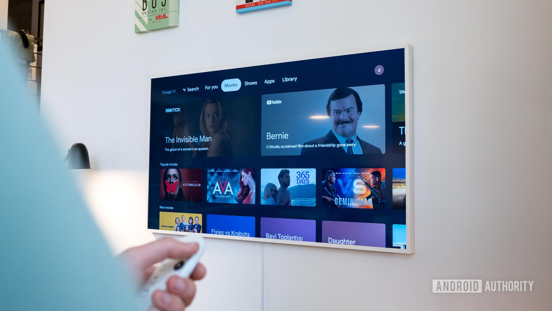 Google Chromecast with Google TV movies tab