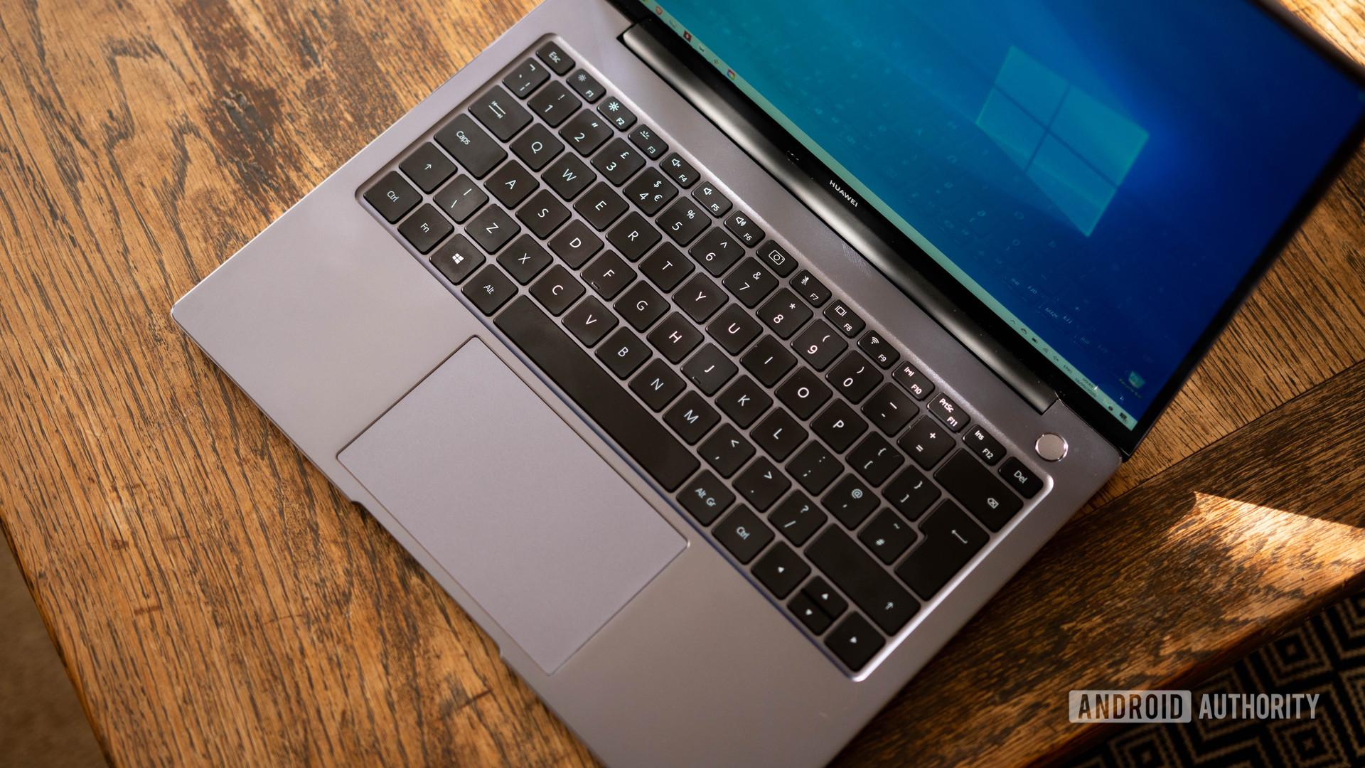 Huawei Matebook 14 2020 AMD wide shot of the keyboard deck