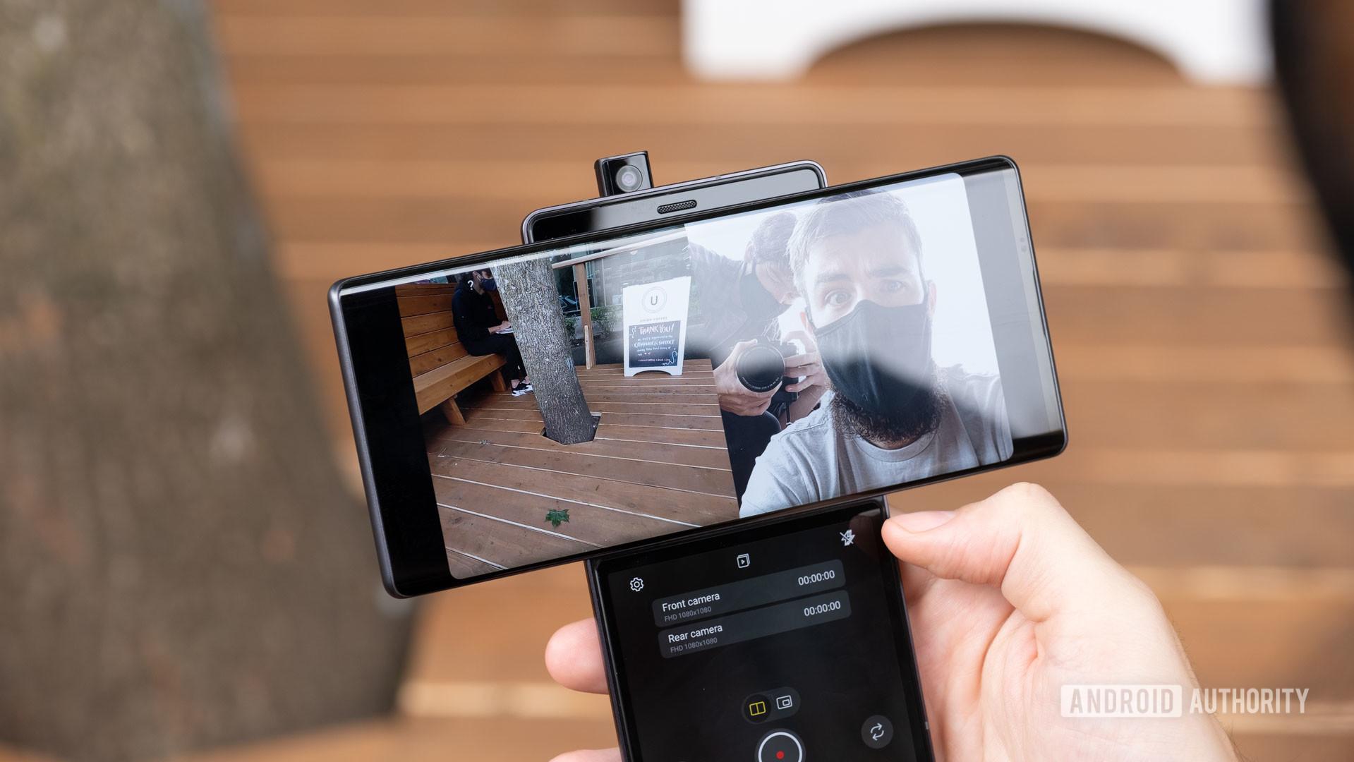 LG Wing using selfie camera