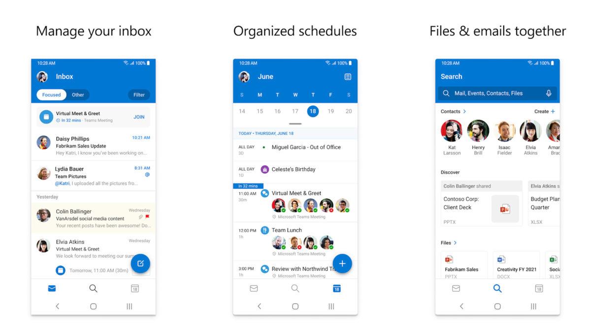 Captura de pantalla de Microsoft Outlook 2020
