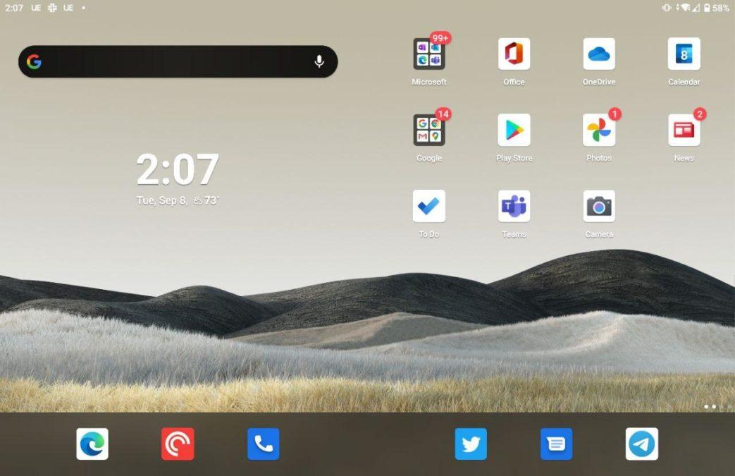 Microsoft Surface Duo standard home screen