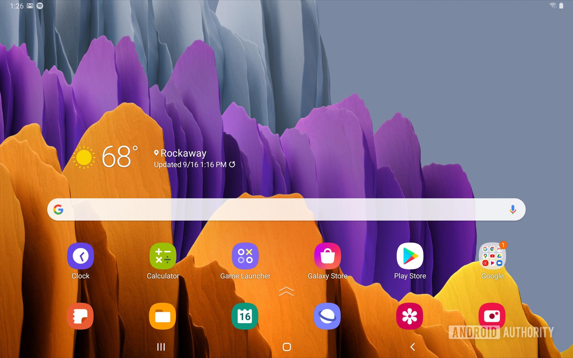 Samsung Galaxy Tab S7 home screen