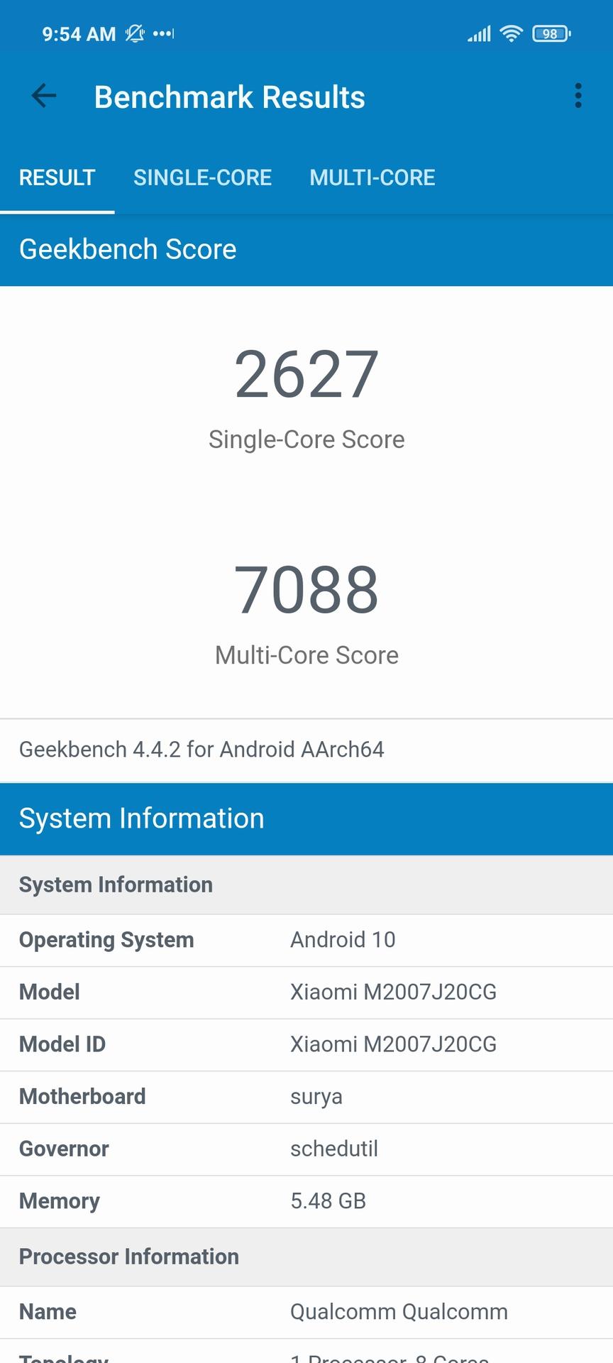 Xiaomi Poco X3 NFC Geekbench 4