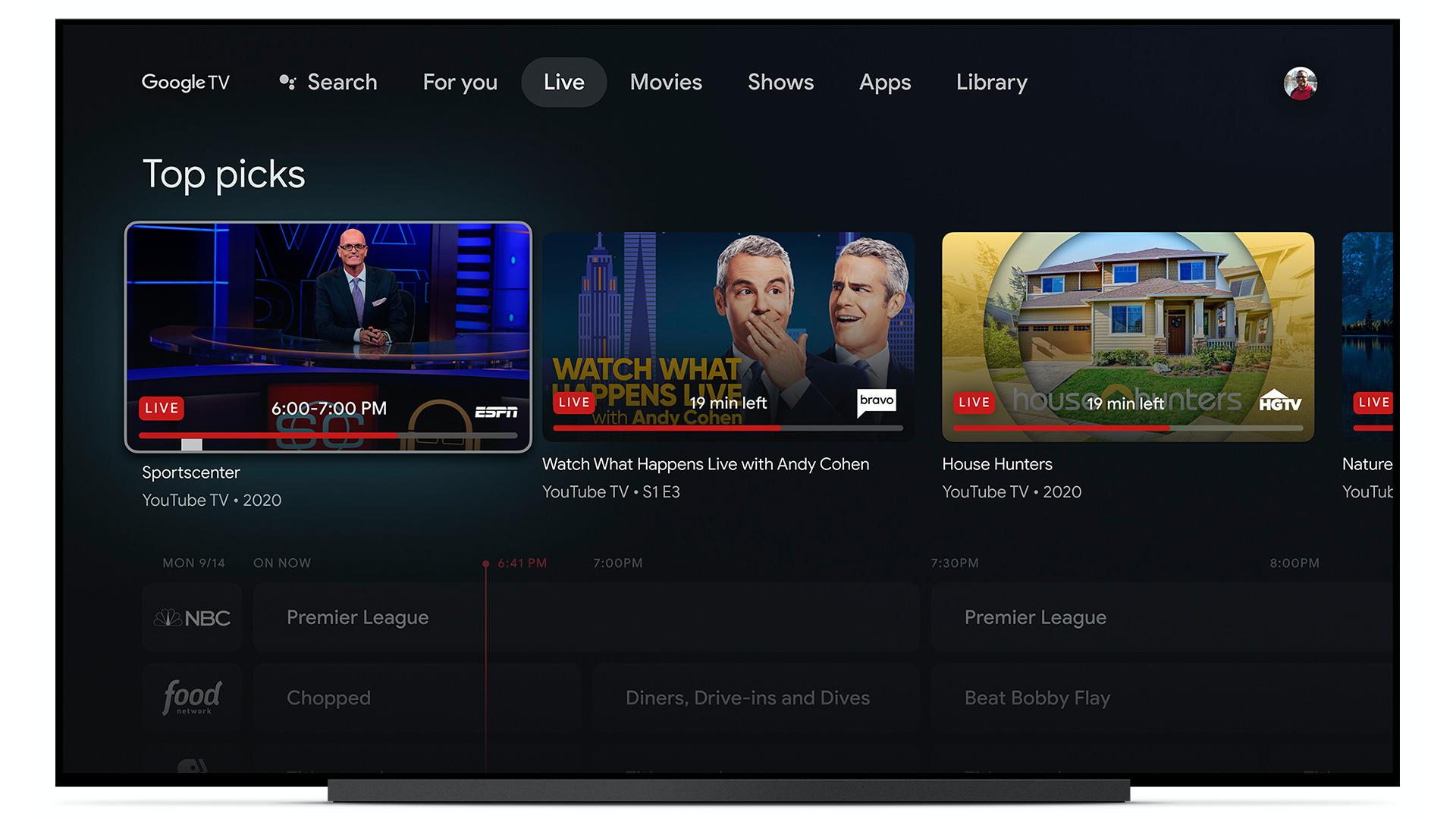 google tv live tab youtube