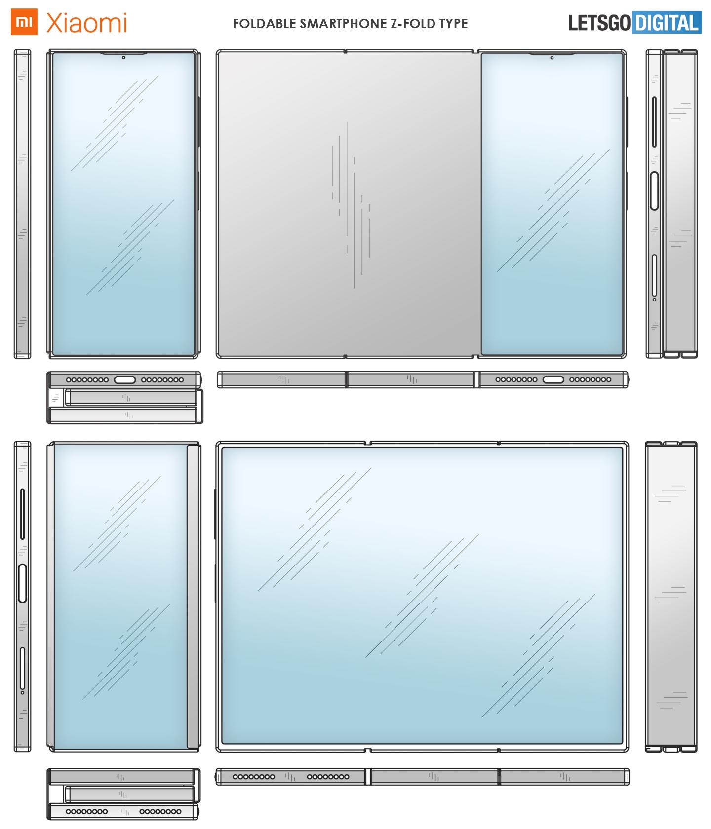 xiaomi foldable phone patent z shape