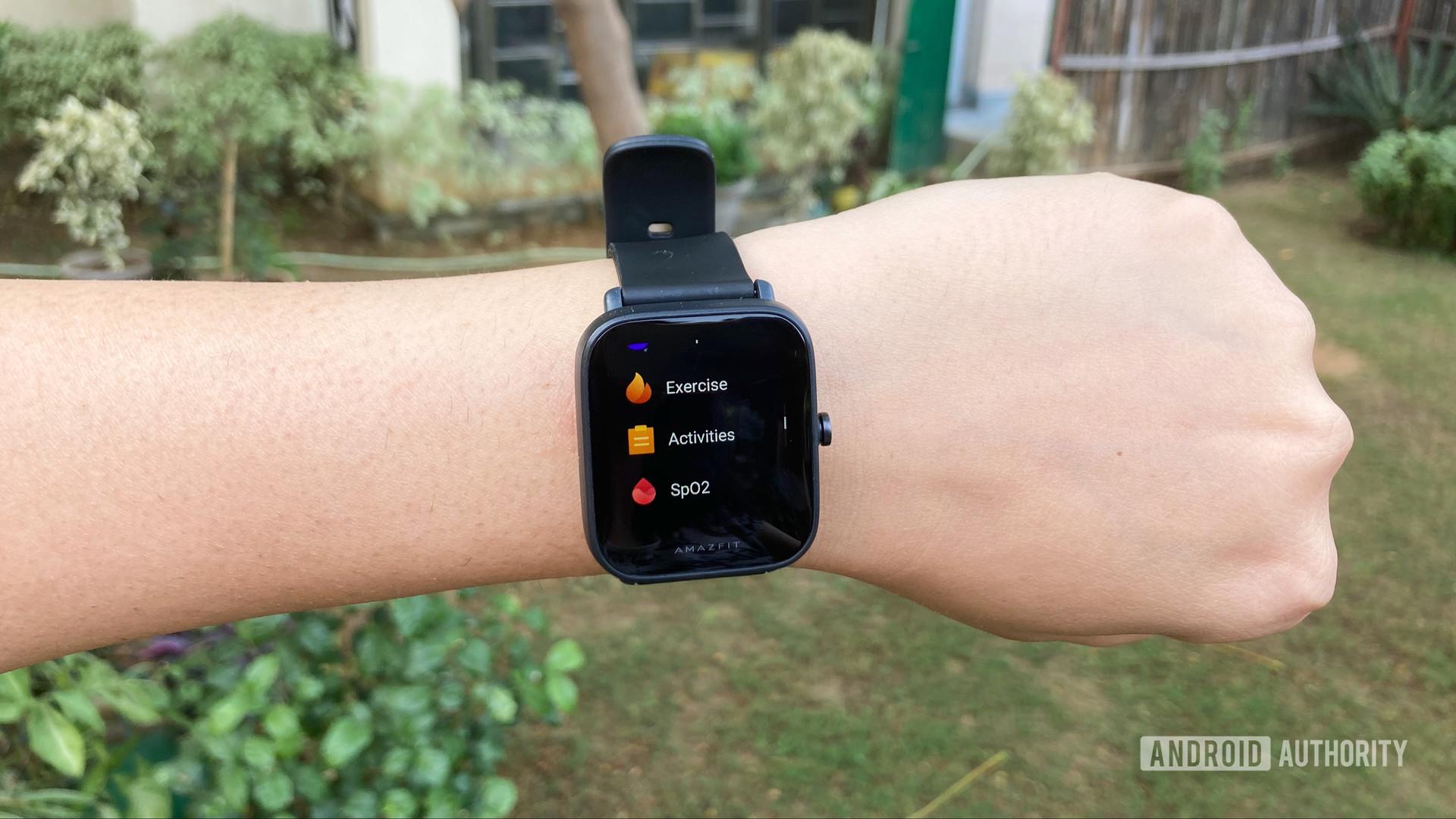 Amazfit Bip U On Wrist Showing SpO2 Feature