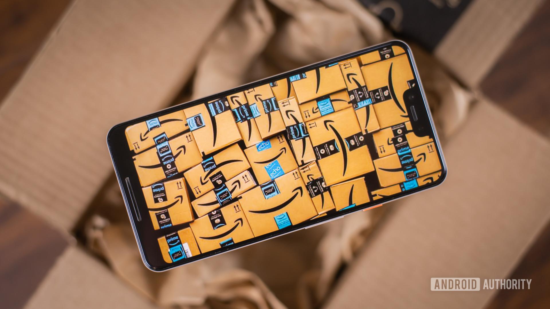 Amazon Prime boxes with smartphone 1
