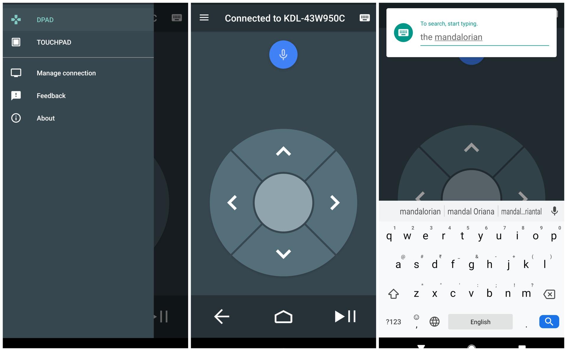 Android TV Remote Control app screenshots
