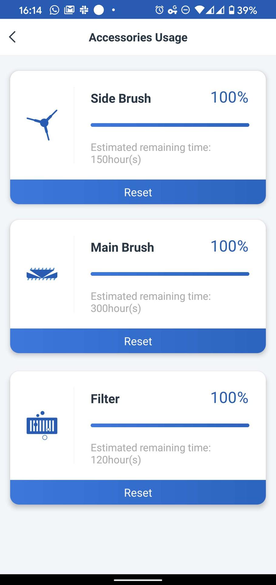 Ecovacs Home acccessories usage screenshot