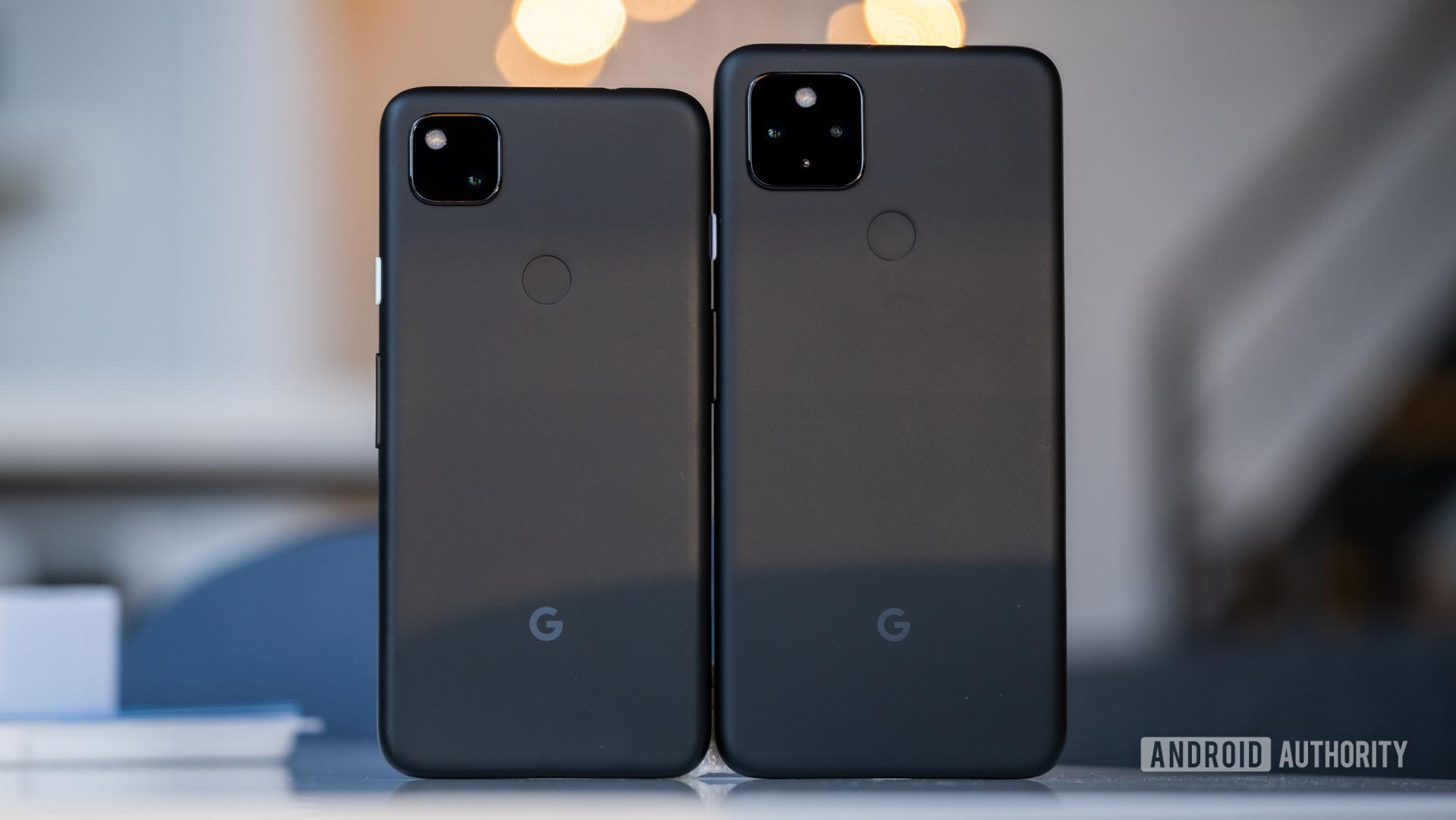 Google Pixel 4a 5G next to 4a