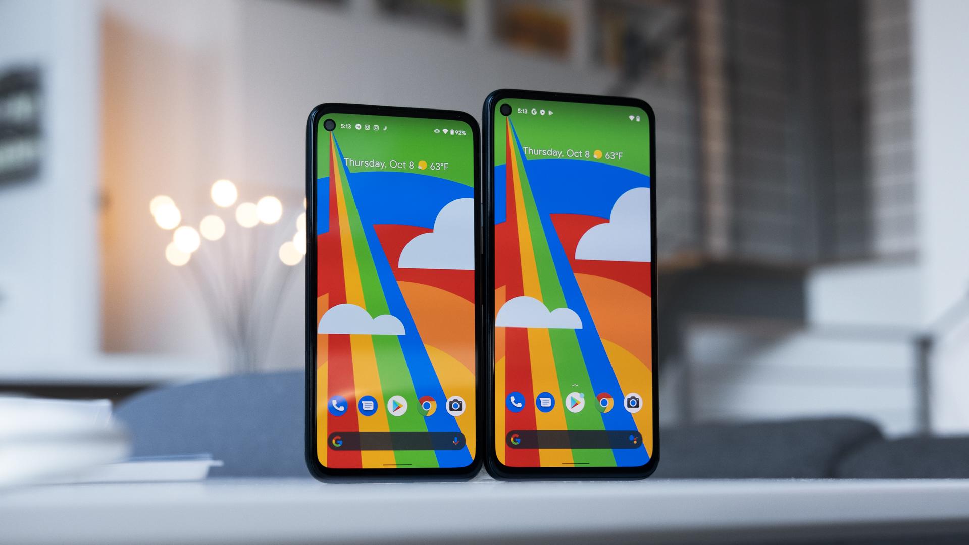 Google Pixel 4a 5G screen size comparison vs Pixel 4a