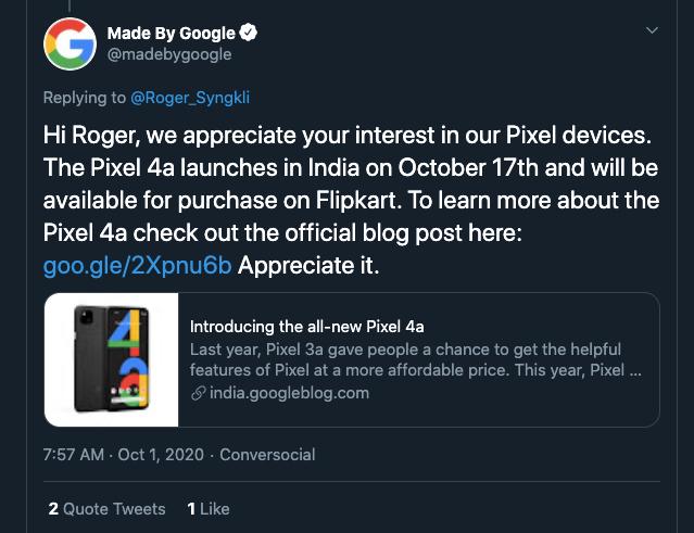 Google Pixel 4a India Launch Date