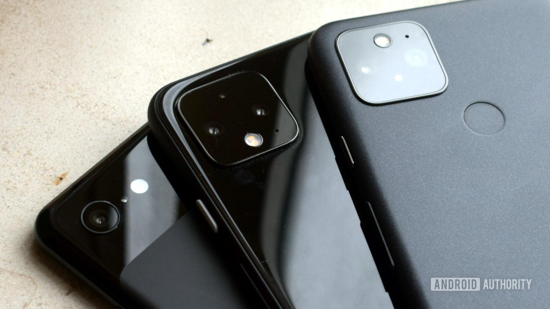 Google Pixel 5 Pixel 4 Pixel 3 cameras close