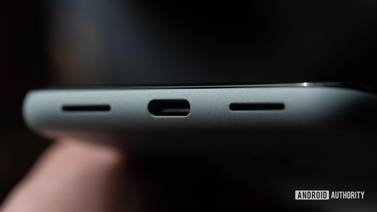 Google Pixel 5 charging port and speakers