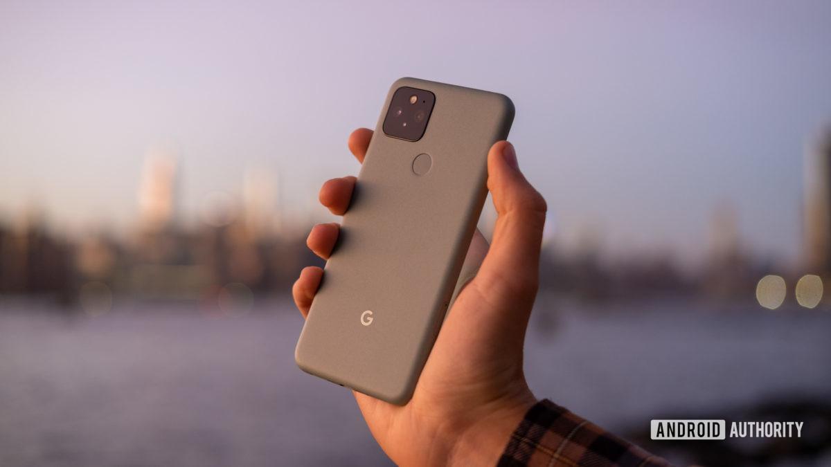 Google Pixel 5 in hand sunset back 3