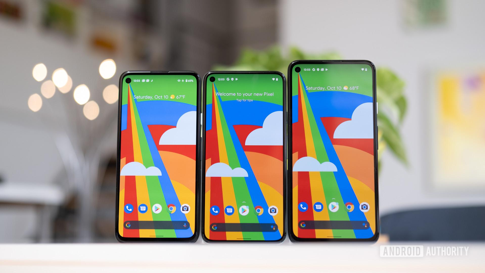 Google Pixel 5 next to Pixel 4a and Pixel 4a 5G 1