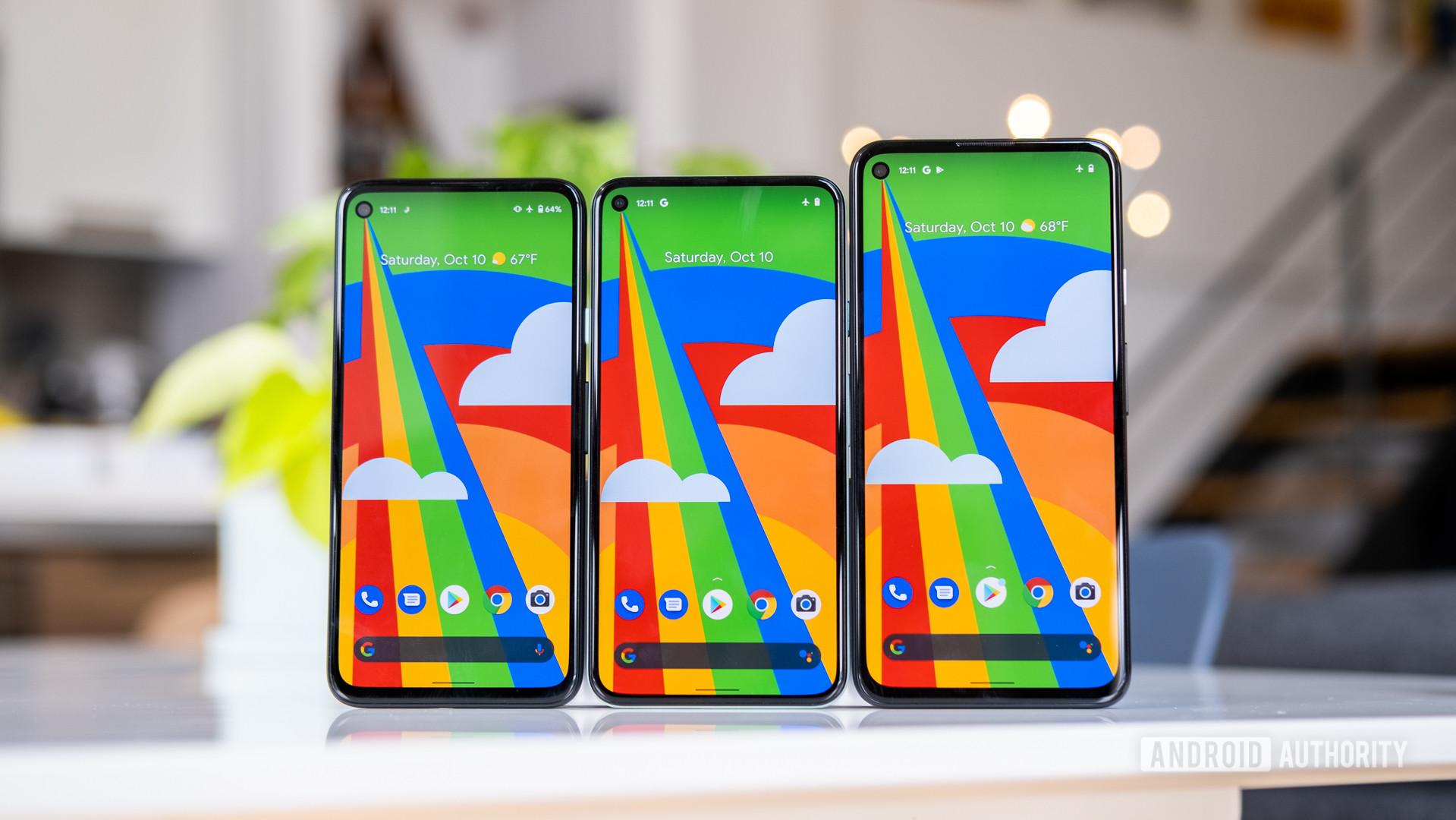 Google Pixel 5 next to Pixel 4a and Pixel 4a 5G 2