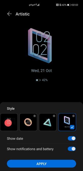 Huawei Mate 40 Pro aod theme menu screenshot