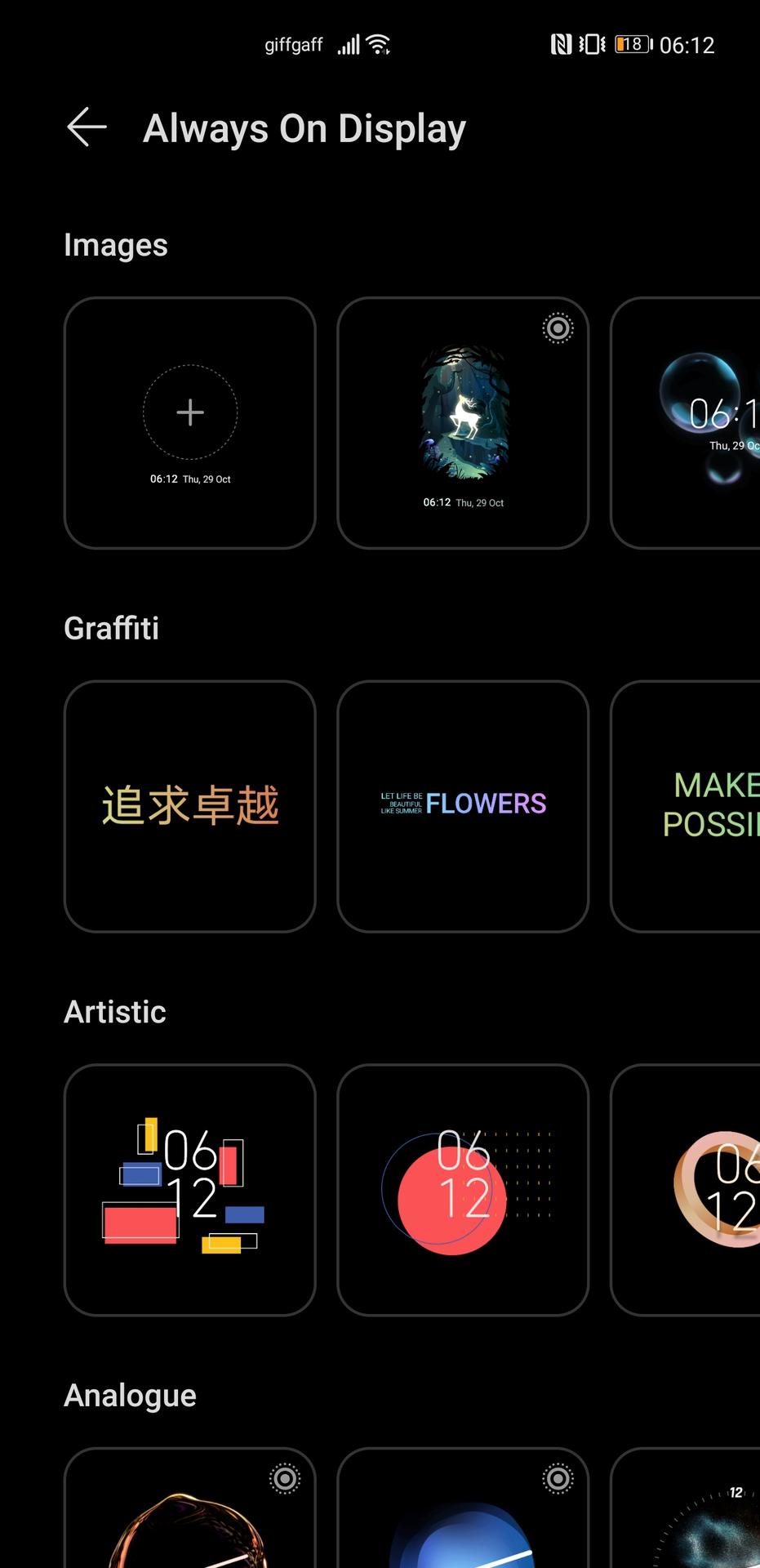 Huawei Mate 40 Pro screenshot of AOD selection screen