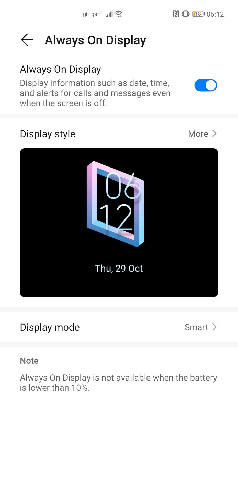 Huawei Mate 40 Pro screenshot of the AOD settings screen