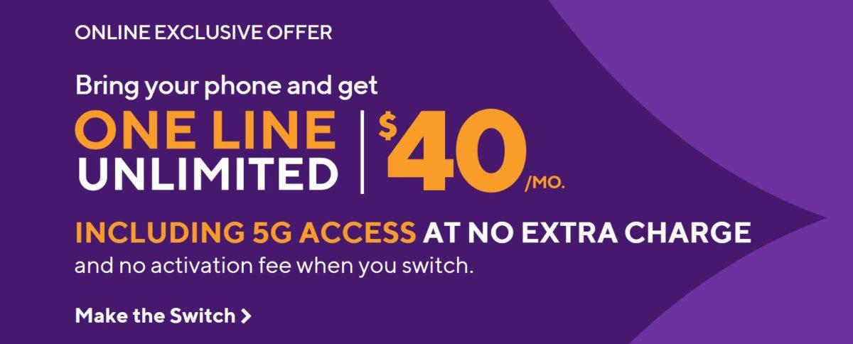 Metro $40 per month unlimited line