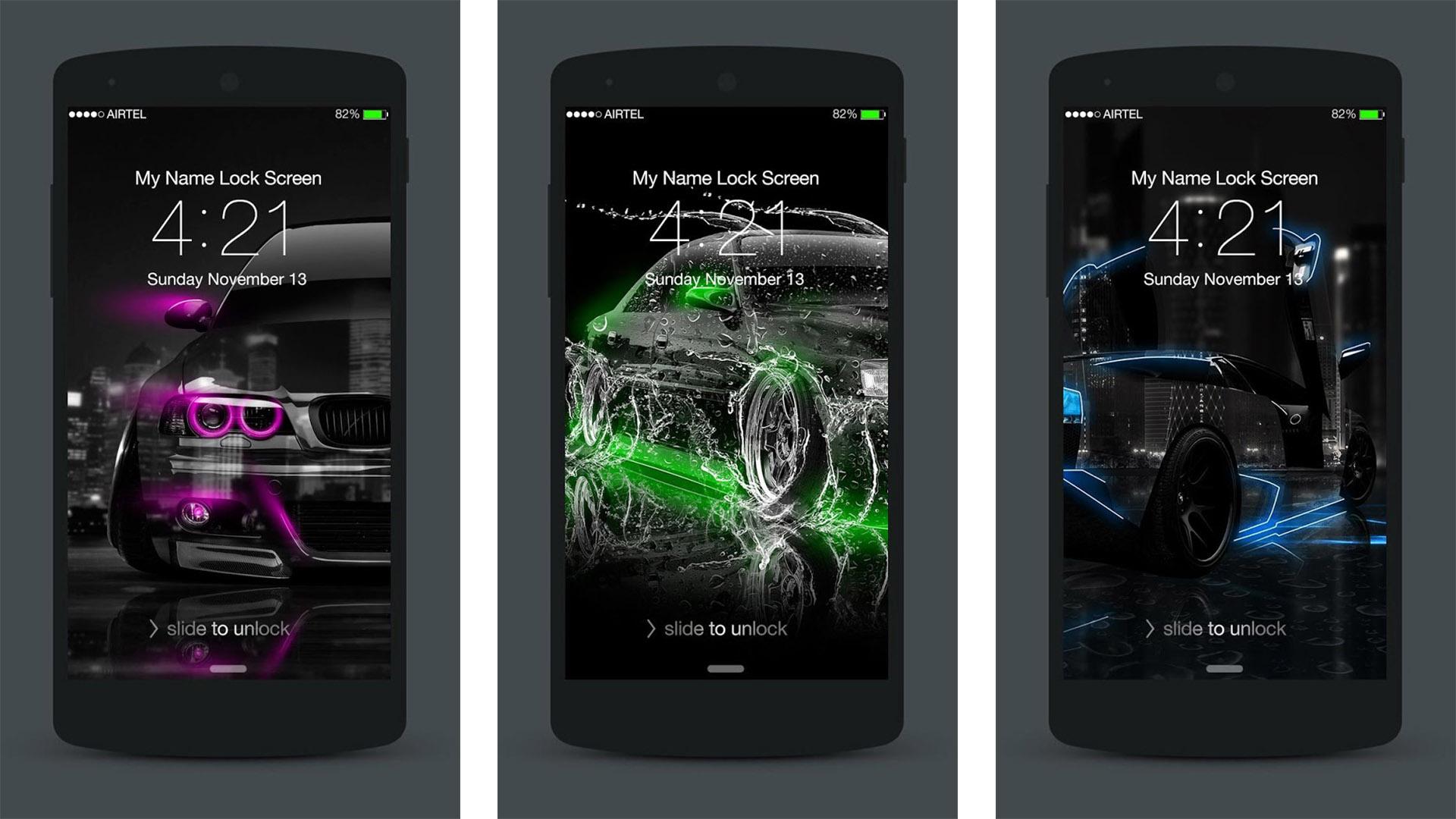 Neon Cars Lock Screen screenshot