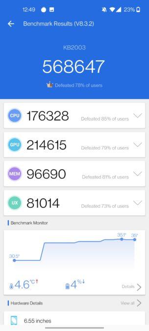 OnePlus 8T anTuTu score