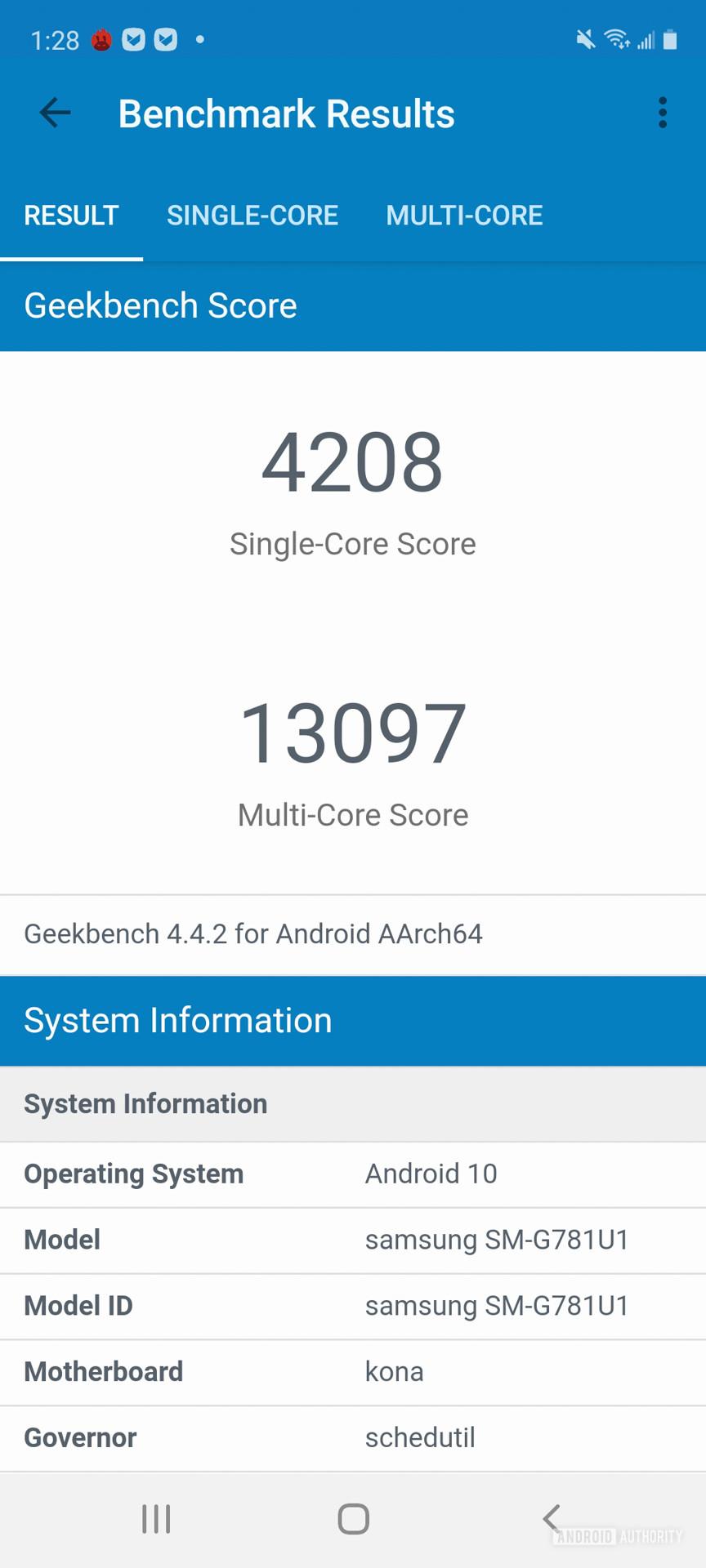 Samsung Galaxy S20 FE GeekBench4