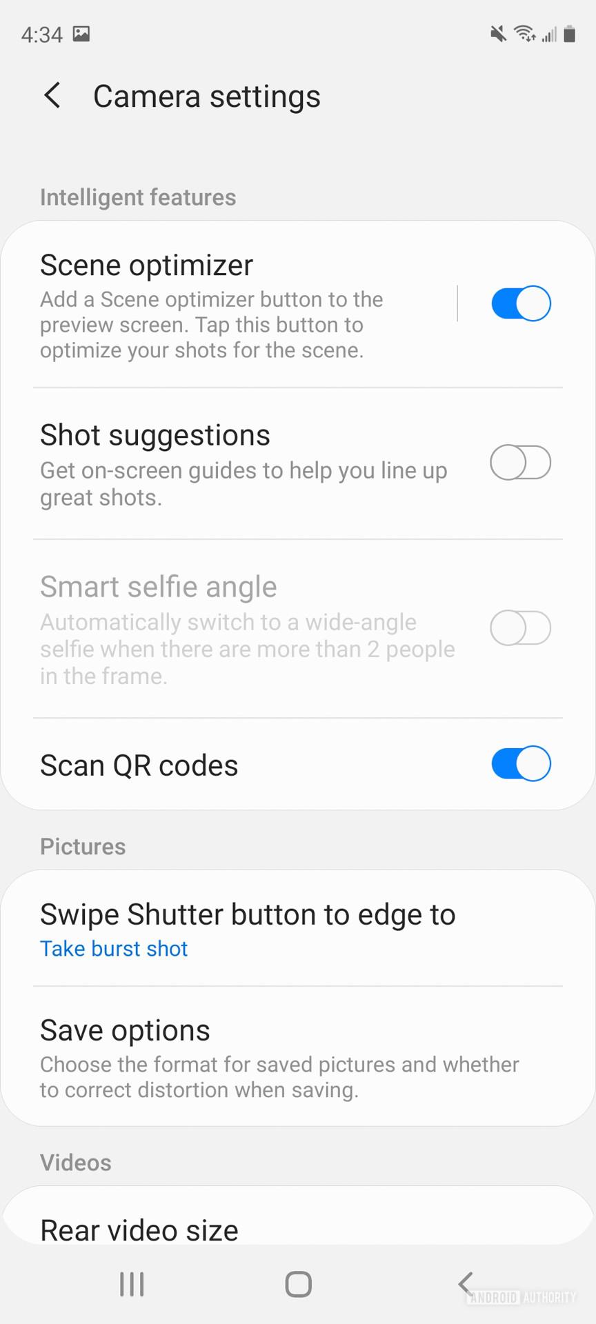 Samsung Galaxy S20 FE camera settings