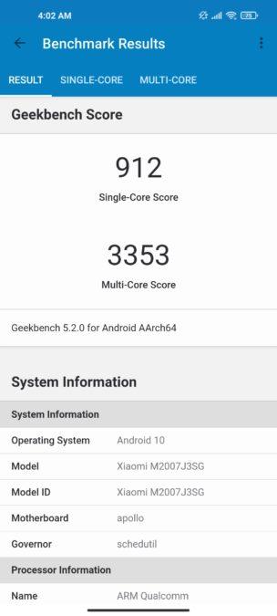 Xiaomi Mi 10T Pro geekbench 5