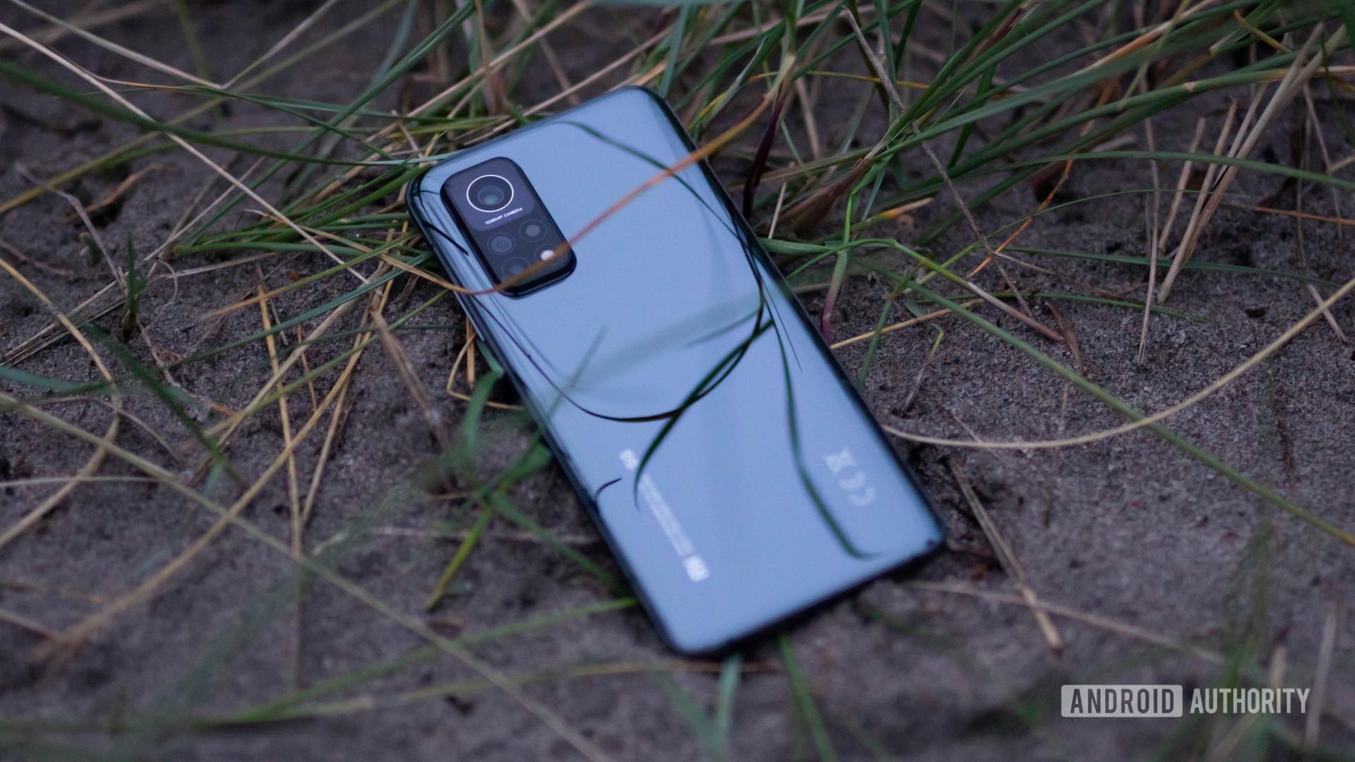 Xiaomi Mi 10T Pro rear view in the sand