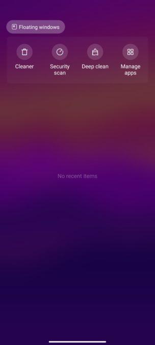 Xiaomi Mi 10T Pro recents menu