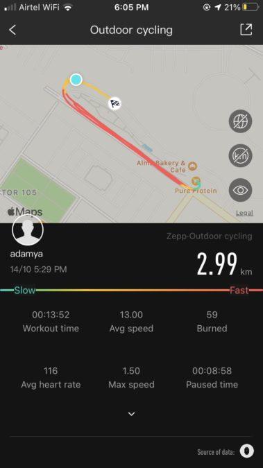 Zepp App Cycling View Amazfit Bip U