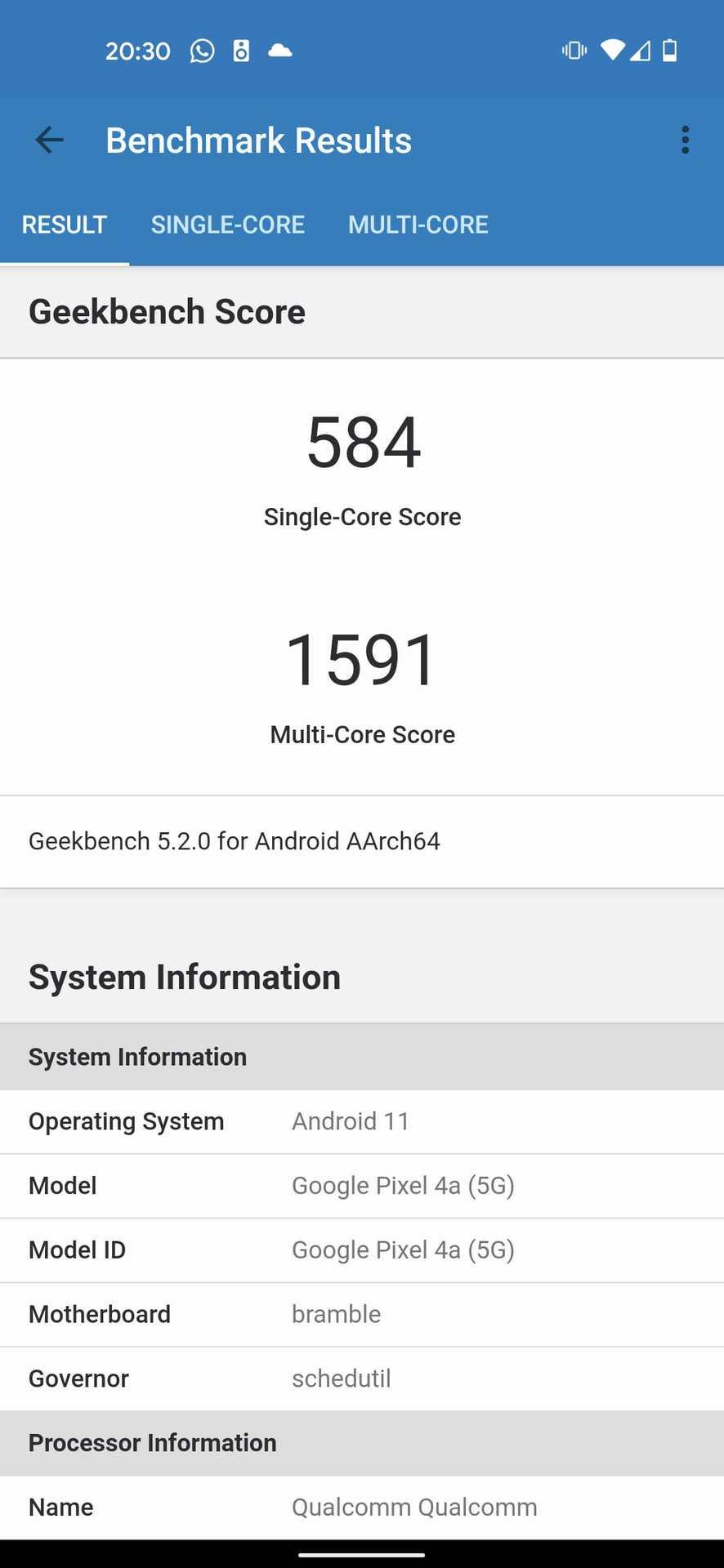 google pixel 4a 5g benchmark geekbench 5