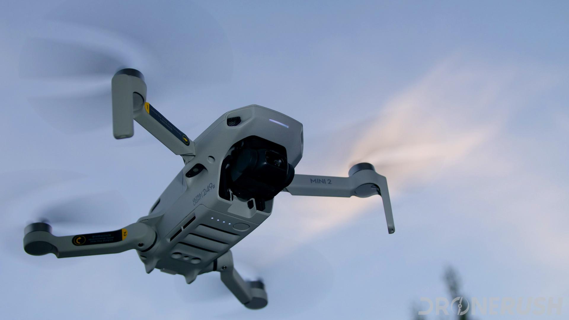 DJI Mini 2 flying bottom angle sky