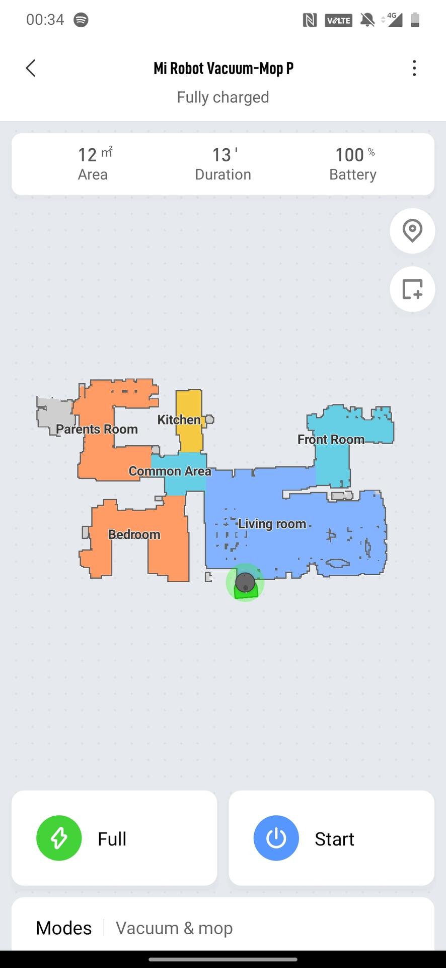Mi Robot Vacuum P map page