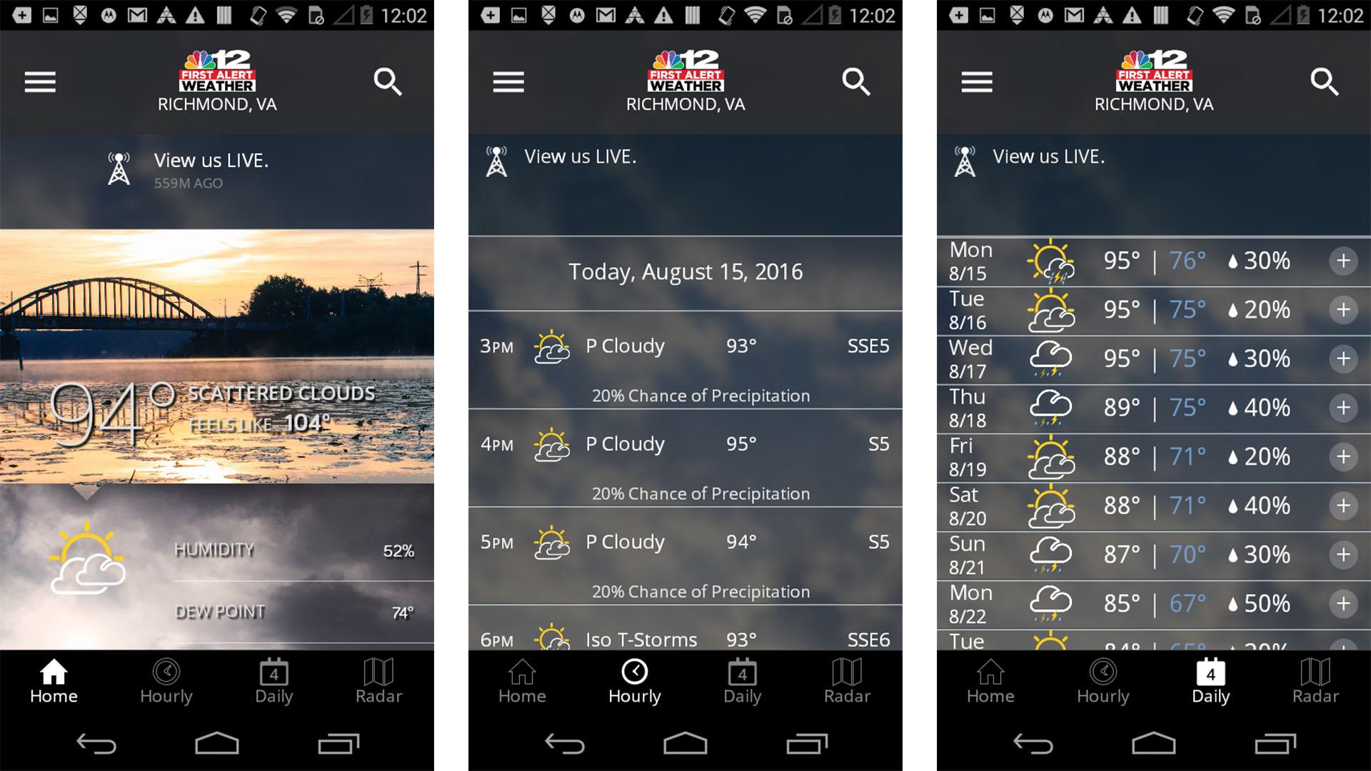 NBC12 First Alert Weather screenshot 2021
