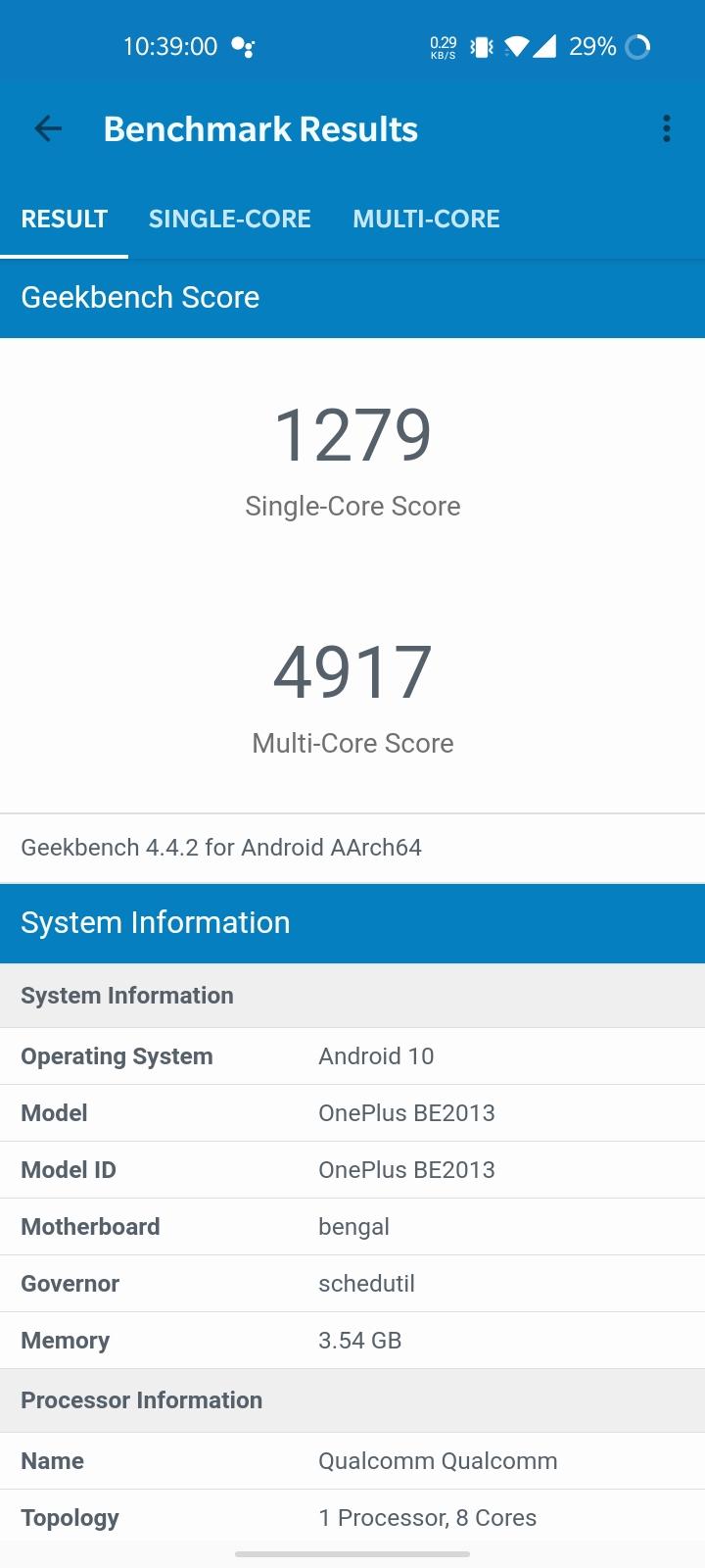 OnePlus Nord N100 Geekbench 4