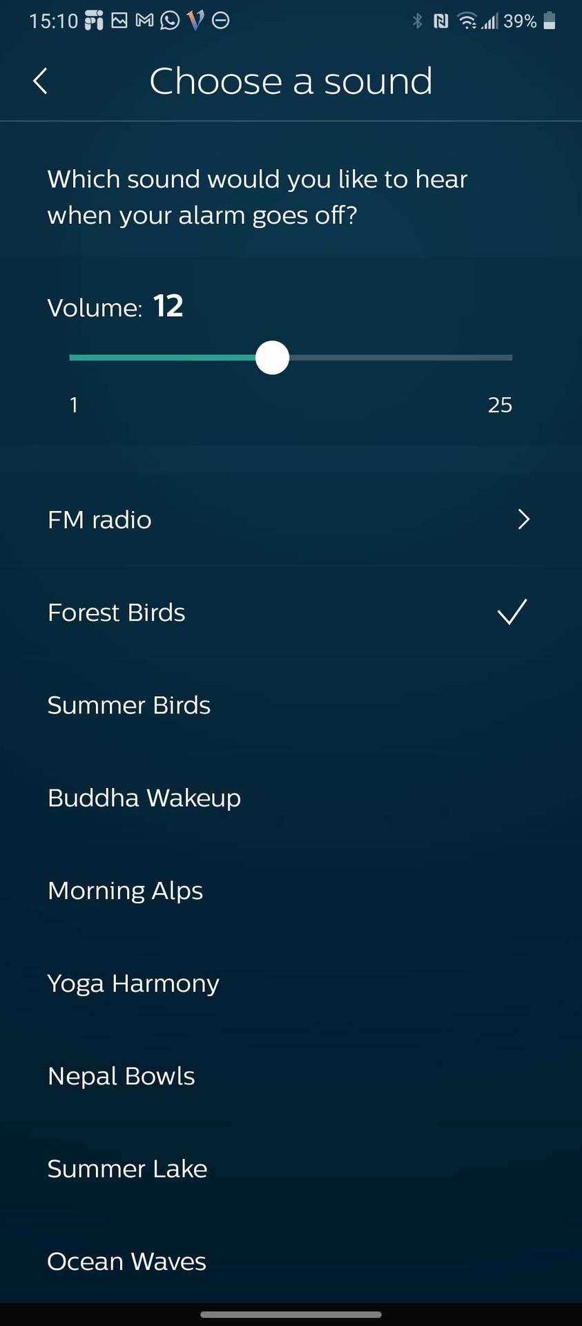 Philips SleepMapper app choose alarm sound