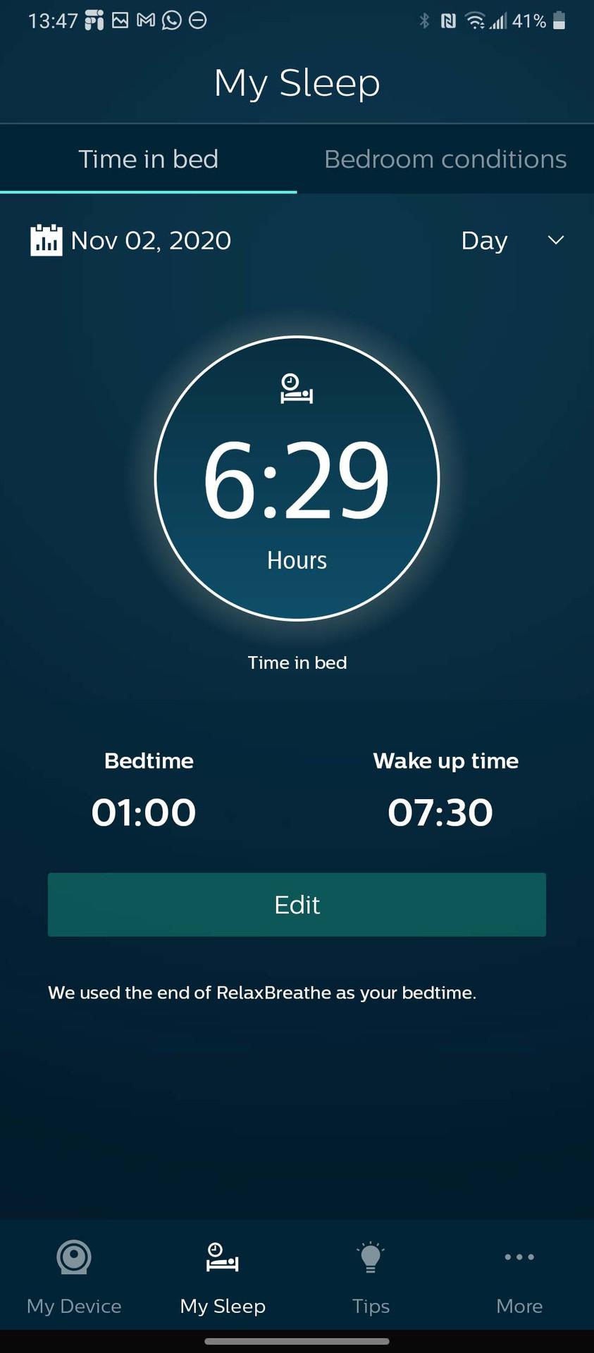 Philips SleepMapper app my sleep record
